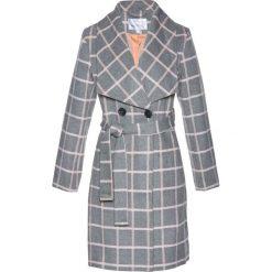 Płaszcze damskie: Płaszcz żakietowy z domieszką wełny bonprix szaro-brzoskwiniowy w kratę