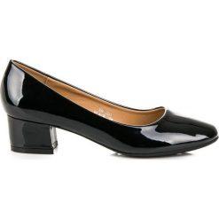 Buty ślubne damskie: Lakierowane czółenka na niskim obcasie LOVERY Czarne
