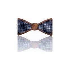 Galaxy – Drewniana Mucha Granatowa w Kropeczki. Niebieskie muchy męskie Woodenlife, w kropki, z bawełny. Za 99,00 zł.