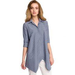 Asymetryczna Luźna Koszula w Granatową Drobną Kratkę. Niebieskie koszule damskie w kratkę marki Molly.pl, l, z jeansu, z asymetrycznym kołnierzem. Za 119,90 zł.