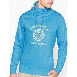 Bluza z nadrukiem, z kominem. Szare bluzy męskie rozpinane marki La Redoute Collections, m, z bawełny, z kapturem. Za 95,72 zł.