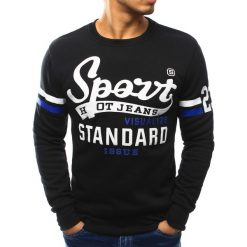 Bluzy męskie: Bluza męska bez kaptura z nadrukiem czarna (bx3053)
