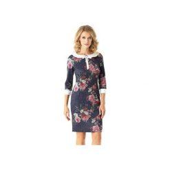 Dopasowana sukienka z kołnierzykiem Flora kwiaty ED025-3. Czarne sukienki z falbanami marki Ella dora, xl, w koronkowe wzory, z koronki, z falbankami, dopasowane. Za 219,00 zł.