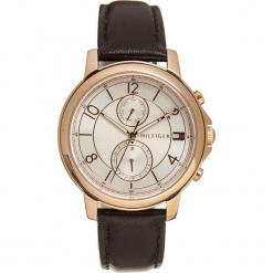 Zegarek kwarcowy w kolorze czarno-różowozłoto-srebrnym. Czarne, analogowe zegarki damskie TOMMY HILFIGER, srebrne. W wyprzedaży za 478,95 zł.