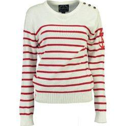 """Sweter """"Figue"""" w kolorze kremowo-czerwonym. Białe swetry klasyczne damskie Geographical Norway Women & Kids, l, z bawełny. W wyprzedaży za 108,95 zł."""