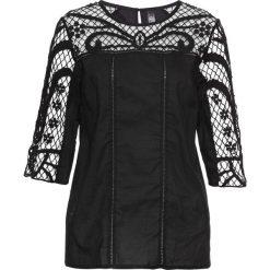 Bluzki damskie: Bluzka z koronkową wstawką bonprix czarny