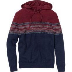 Sweter z kapturem Regular Fit bonprix czerwony klonowy - szary melanż - ciemnoniebieski. Czarne swetry klasyczne męskie marki Reserved, m, z kapturem. Za 59,99 zł.