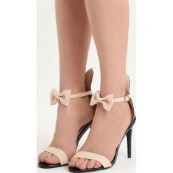 Czarno-Beżowe Sandały Rabbit. Czarne sandały damskie marki Kazar, z nubiku, na wysokim obcasie, na szpilce. Za 59,99 zł.