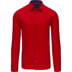 Koszule męskie na spinki: Koszula męska czerwona (dx1421)