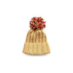 Czapki zimowe damskie: Czapka beżowa z kolorowym pomponem
