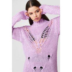 Glamorous Dzianinowy golf - Purple. Różowe golfy damskie marki Glamorous, z nadrukiem, z asymetrycznym kołnierzem, asymetryczne. Za 222,95 zł.