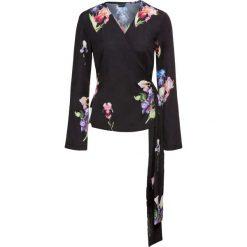 Bluzki damskie: Bluzka kimonowa bonprix czarny z nadrukiem