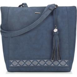Torebka damska 87-4Y-700-7. Niebieskie shopper bag damskie Wittchen, z aplikacjami, na ramię, zdobione. Za 129,00 zł.