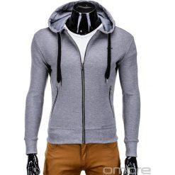 Bluzy męskie: BLUZA MĘSKA ROZPINANA Z KAPTUREM B555 - SZARA