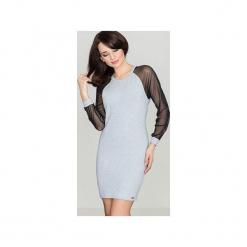 Sukienka K332 Szary. Szare sukienki balowe marki Lenitif, s, z bawełny, sportowe. Za 149,00 zł.