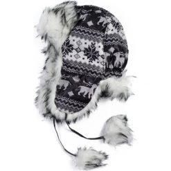 Czapka damska Uszanka Renifery czarno-biała. Białe czapki zimowe damskie Art of Polo. Za 47,34 zł.