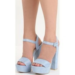Niebieskie Sandały Chic Heels. Niebieskie sandały damskie na słupku Born2be, z materiału, na wysokim obcasie. Za 79,99 zł.