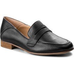 Półbuty CLARKS - Pure Iris 261379504 Black Leather. Czarne półbuty damskie skórzane Clarks, na obcasie. W wyprzedaży za 319,00 zł.