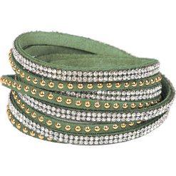Bransoletki damskie: Skórzana bransoletka w kolorze zielonym ze szklanymi kryształkami