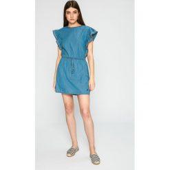Pepe Jeans - Sukienka. Niebieskie sukienki dzianinowe marki Pepe Jeans, na co dzień, l, casualowe, mini, rozkloszowane. W wyprzedaży za 229,90 zł.