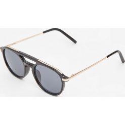 Okrągłe okulary przeciwsłoneczne z podwójnym mostkiem. Szare okulary przeciwsłoneczne męskie aviatory Pull&Bear, okrągłe. Za 59,90 zł.