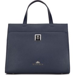 Torebka damska 87-4-582-N. Niebieskie kuferki damskie Wittchen, w geometryczne wzory. Za 299,00 zł.