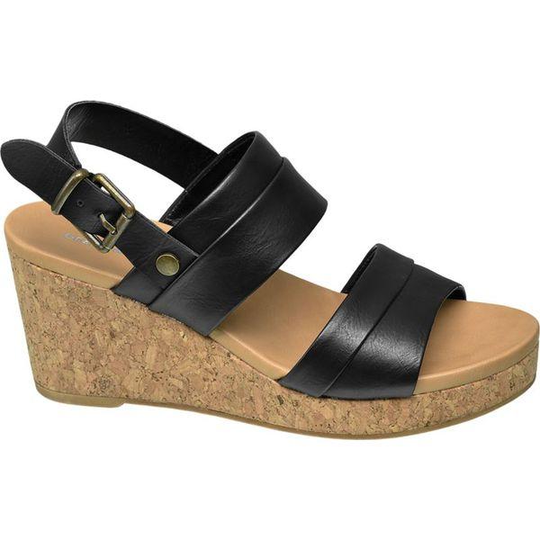 4255b17d5398a4 sandały na koturnie Graceland czarne - Czarne sandały damskie ...