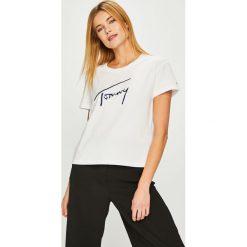 Tommy Jeans - Top. Szare topy damskie Tommy Jeans, l, z aplikacjami, z bawełny, z okrągłym kołnierzem. Za 179,90 zł.