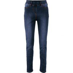 Legginsy dżinsowe power-stretch z wysoką talią bonprix ciemny denim. Niebieskie legginsy marki bonprix, z denimu. Za 99,99 zł.
