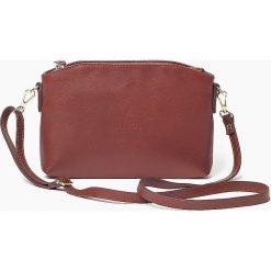 Skórzana Włoska brązowa torebka listonoszka MELANIA. Brązowe torby na ramię męskie marki Vera Pelle, w paski, ze skóry, małe. Za 179,00 zł.