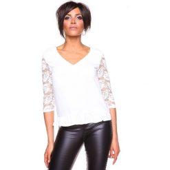 """Koszulka """"Carla"""" w kolorze białym. Białe bluzki koronkowe La Belle Française, s. W wyprzedaży za 130,95 zł."""