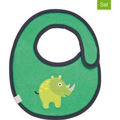 """Śliniaki: Ślinaczki (2 szt.) """"Rhino"""" w kolorze zielonym – 26,5 x 21 cm"""