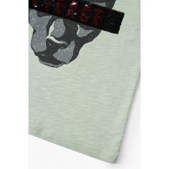 Mango Kids - T-shirt dziecięcy Praga 110-164 cm. Szare t-shirty chłopięce z nadrukiem marki bonprix, m, z dzianiny, z kontrastowym kołnierzykiem. W wyprzedaży za 29,90 zł.