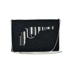Kopertówki damskie: Kopertówka w kolorze czarno-biało-srebrnym – (D)25 x (S)15 cm