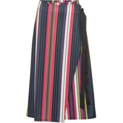 Spódniczki rozkloszowane: Spódnica kopertowa bonprix czarny w kolorowe paski