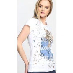 Biały T-shirt Animals. Białe bluzki damskie marki Born2be, l. Za 24,99 zł.