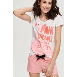 Piżamy damskie: Dwuczęściowa piżama z flamingiem – Różowy