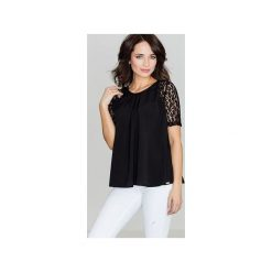 Bluzka K328 Czarny. Czarne bluzki damskie marki Lenitif, s, w koronkowe wzory, z koronki, z krótkim rękawem. Za 99,00 zł.