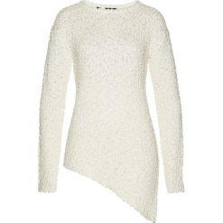 Swetry klasyczne damskie: Sweter z asymetryczną linią dołu bonprix biały