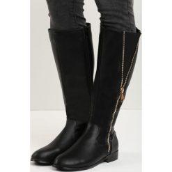 Czarne Kozaki Good Habit. Czarne buty zimowe damskie marki Kazar, ze skóry, przed kolano, na wysokim obcasie, na obcasie. Za 69,99 zł.