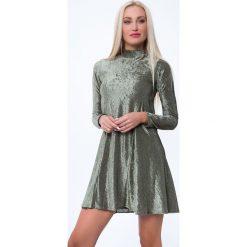 Sukienki: Sukienka prążkowana khaki MP62071