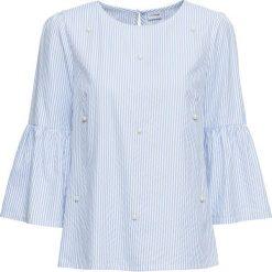 Bluzki damskie: Bluzka w paski z perełkami bonprix niebiesko-biały w paski