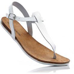 Sandały skórzane japonki bonprix biały. Białe klapki damskie marki bonprix. Za 44,99 zł.