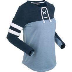 Bluzy rozpinane damskie: Bluza z wiązanym troczkiem, długi rękaw bonprix matowy niebieski melanż