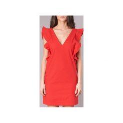 Sukienki krótkie Pepe jeans  EDURNE. Czerwone sukienki mini marki Pepe Jeans, l, z jeansu, z krótkim rękawem. Za 279,20 zł.