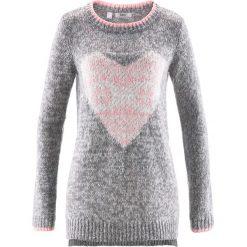 Swetry klasyczne damskie: Sweter dzianinowy z dłuższym tyłem, długi rękaw bonprix szary melanż – pudrowy jasnoróżowy