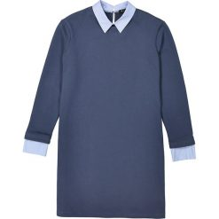 Sukienka bluza 2 w 1, kołnierzyk koszulowy. Szare sukienki mini marki La Redoute Collections, m, z bawełny, z kapturem. Za 95,72 zł.