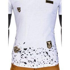 T-shirty męskie: T-SHIRT MĘSKI Z NADRUKIEM S841 – BIAŁY