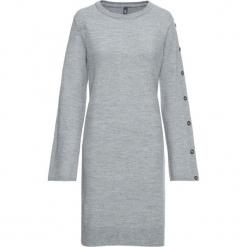 Sukienka dzianinowa z guzikami w optyce masy rogowej: must have bonprix szary melanż. Szare sukienki dzianinowe bonprix, melanż, rozkloszowane. Za 129,99 zł.