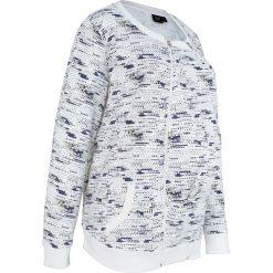 Bluza ciążowa rozpinana z wstawką niemowlęcą na nosidełko bonprix biel wełny z nadrukiem. Białe bluzy niemowlęce marki bonprix, z nadrukiem, z wełny. Za 79,99 zł.